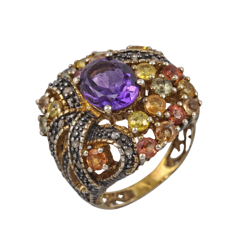 Χειροποίητο Antique Δαχτυλίδι Κ9 Χρυσό με Αμέθυστο & Διαμάντια