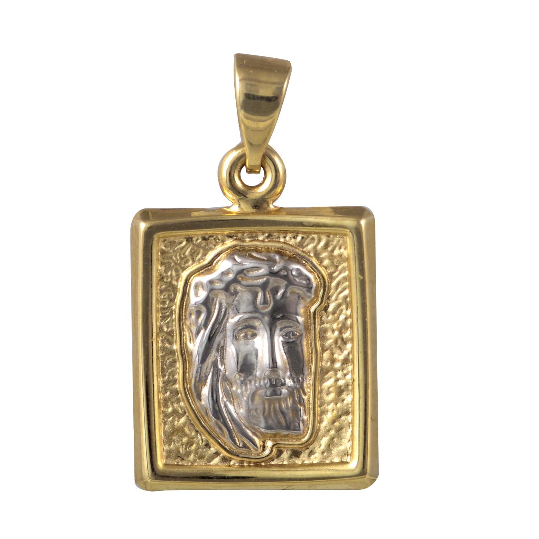 Χρυσό και Λευκόχρυσο Κ14 Φυλακτό  Ιησούς Χριστός