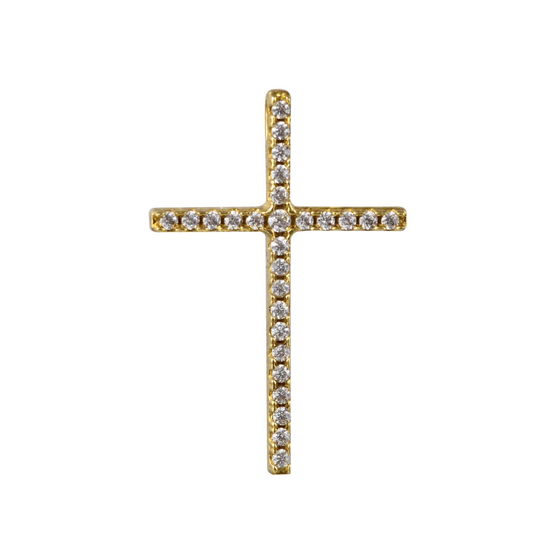 Χρυσός Βαπτιστικός Σταύρος Κ14 με Ζιργκόν