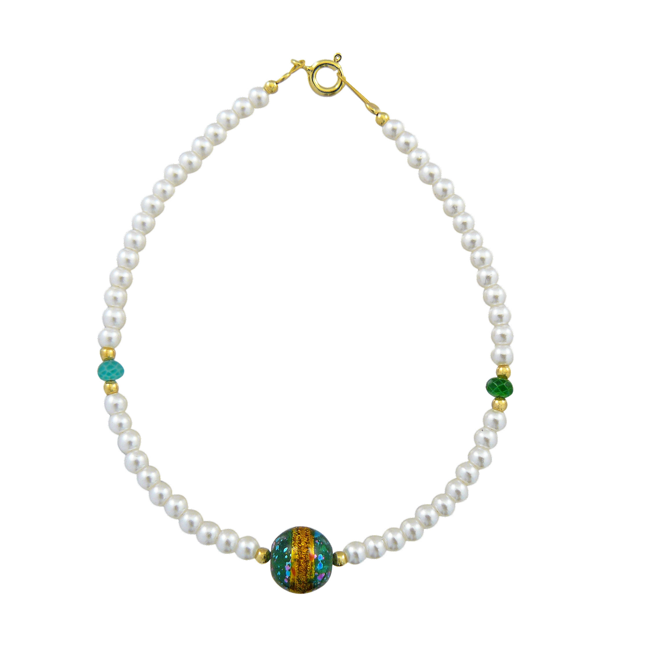 Γυναικείο Βραχιόλι με Μαργαριτάρια και Συνθετική  Πράσινη Πέτρα (Silver 925)