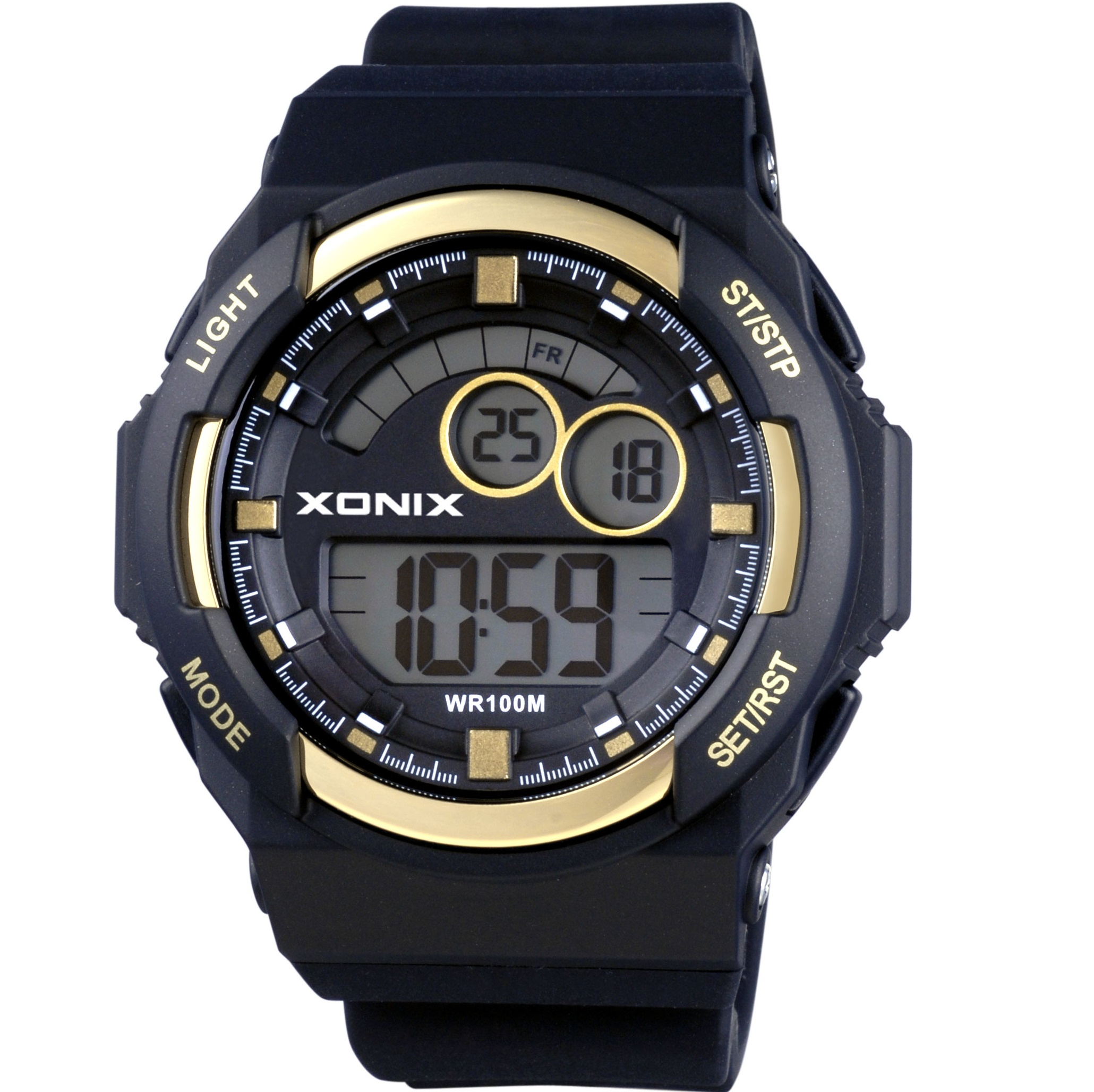 Xonix Digital Black Rubber Strap JS-A05