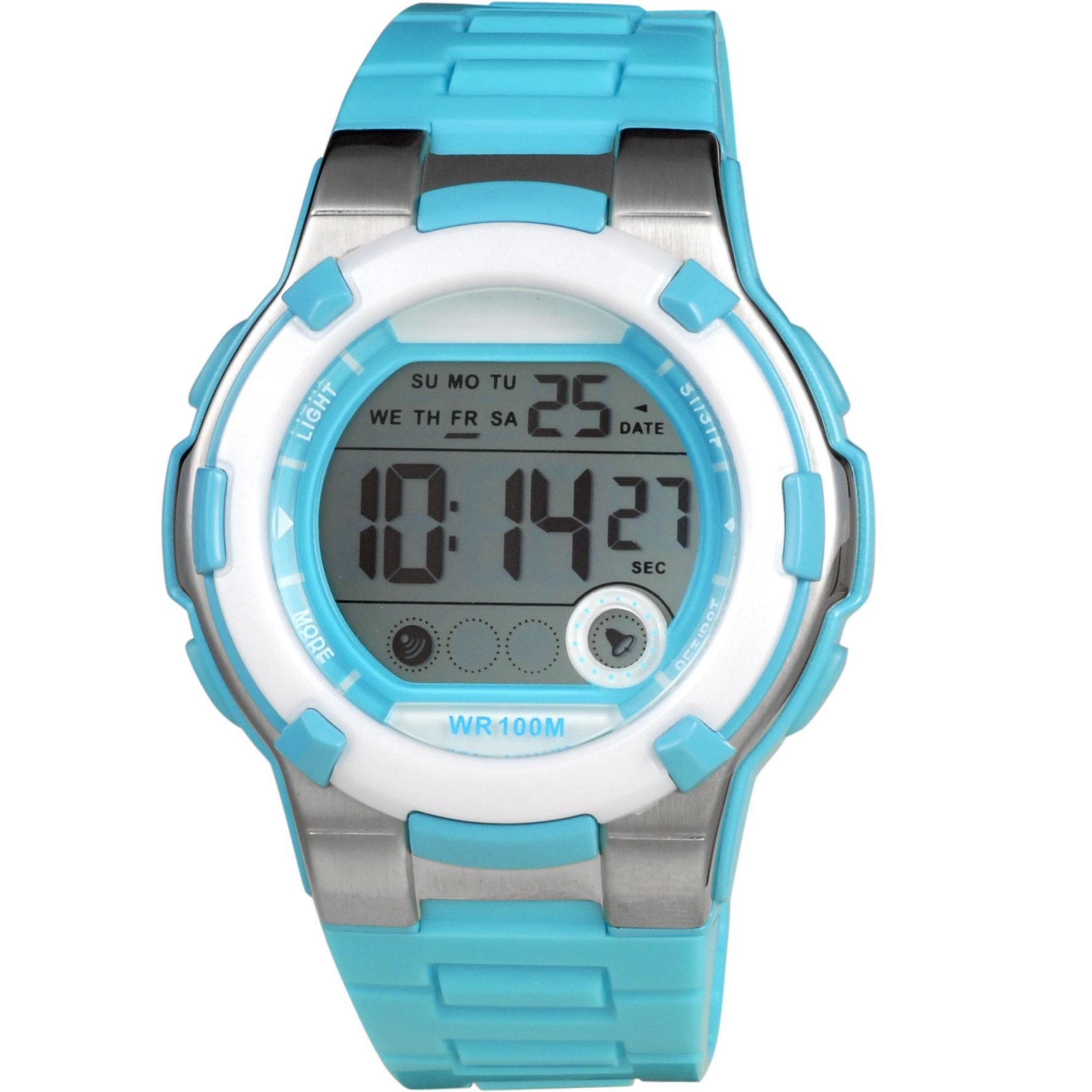 Xonix Chronograph Light Blue Rubber Strap KF-B02