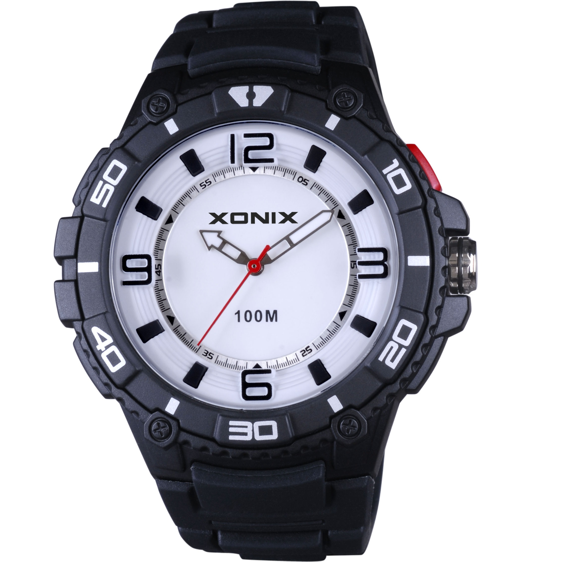 Xonix Analog Black Rubber Strap UJ-005