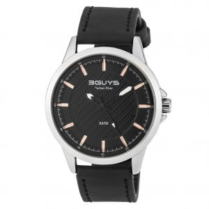 3GUYS Mens Black Leather Strap