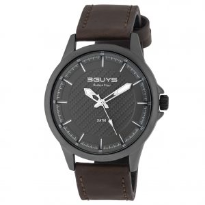 3GUYS Mens Brown Leather Strap