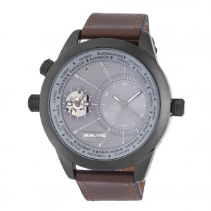 3GUYS Dual Time Brown Leather Strap