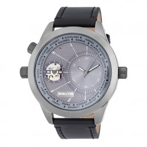 3GUYS Dual Time Black Leather Strap