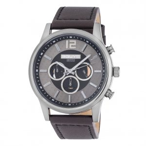 3GUYS Chronograph Brown Leather Strap