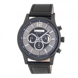 3GUYS Chronograph Black Leather Strap
