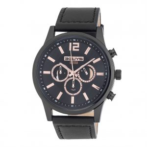 3GUYS Chronograph Black Leather Strap