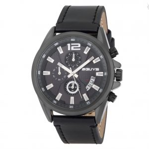 3GUYS XXL Chronograph Black Leather Strap