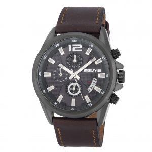 3GUYS XXL Chronograph Brown Leather Strap